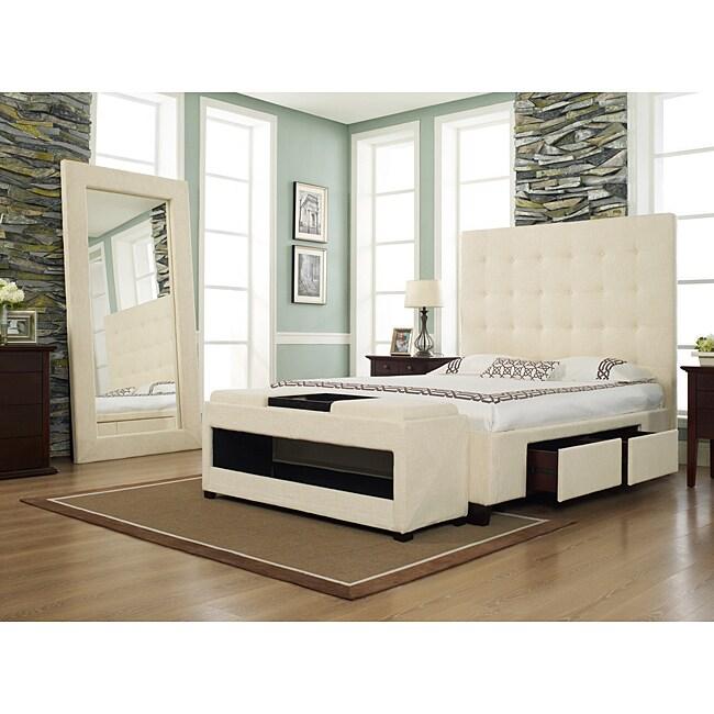 Malibu-X Eastern Wheat Fabric 4-drawer King-size Storage Bed