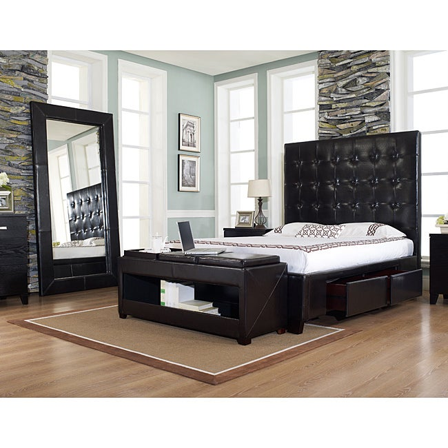 Malibu-X Chocolate Bonded Leather Queen-size Storage Bed