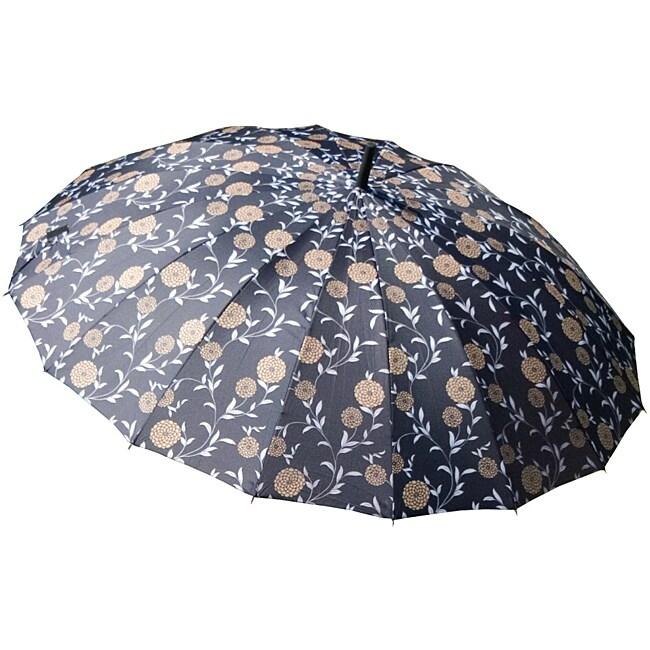 Laura Ashley Erin Gold Charcoal Floral City Umbrella