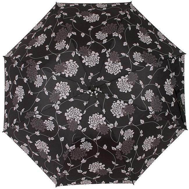 Laura Ashley Isodore Black/Charcoal-gray Contemporary Floral Umbrella