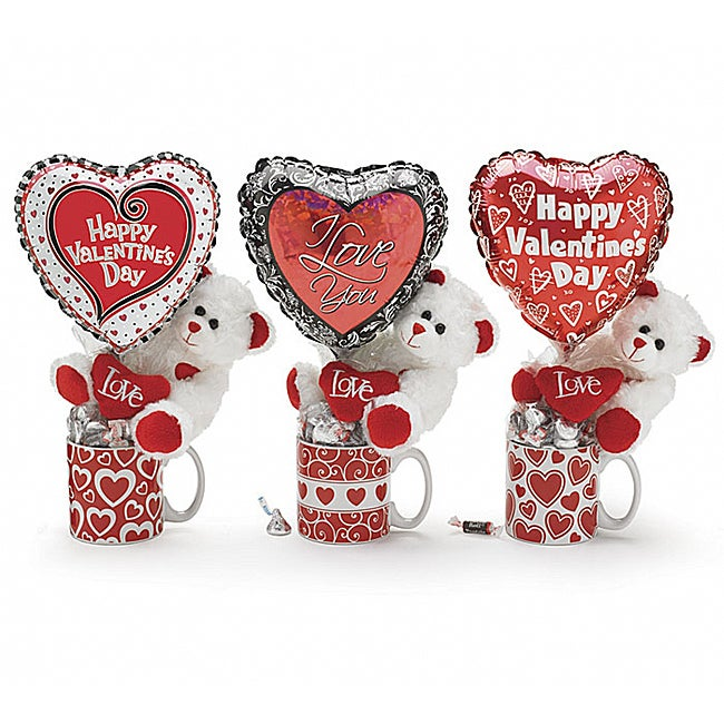 Valentine's Day Teddy Bear Gift Mugs and Candy (Set of 3)