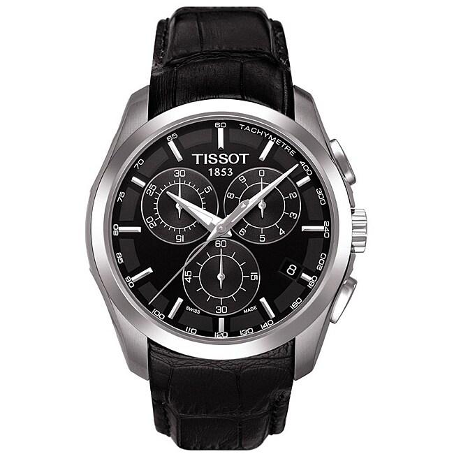 Tissot Mens Couturier Chronograph Black Leather Strap Watch
