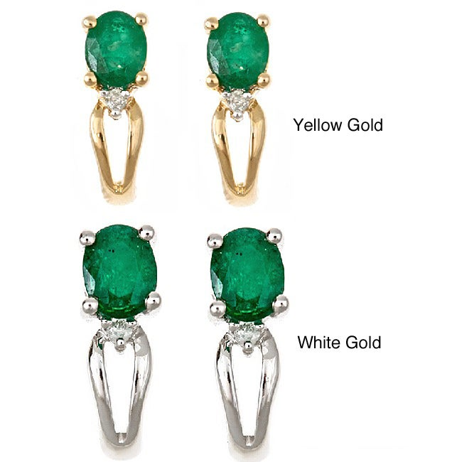D'Yach 14k Gold Zambian Emerald and Diamond Earrings