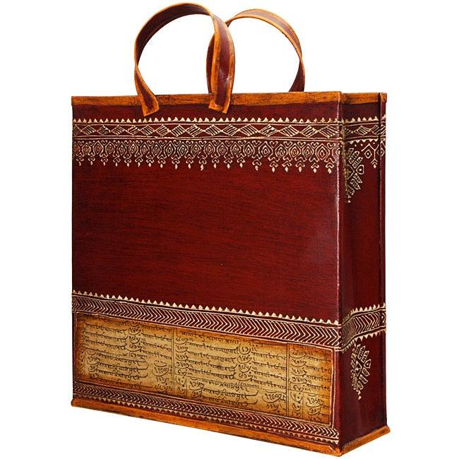 Wrought Iron Embossed 'Shopping Bag' Magazine Holder (India)