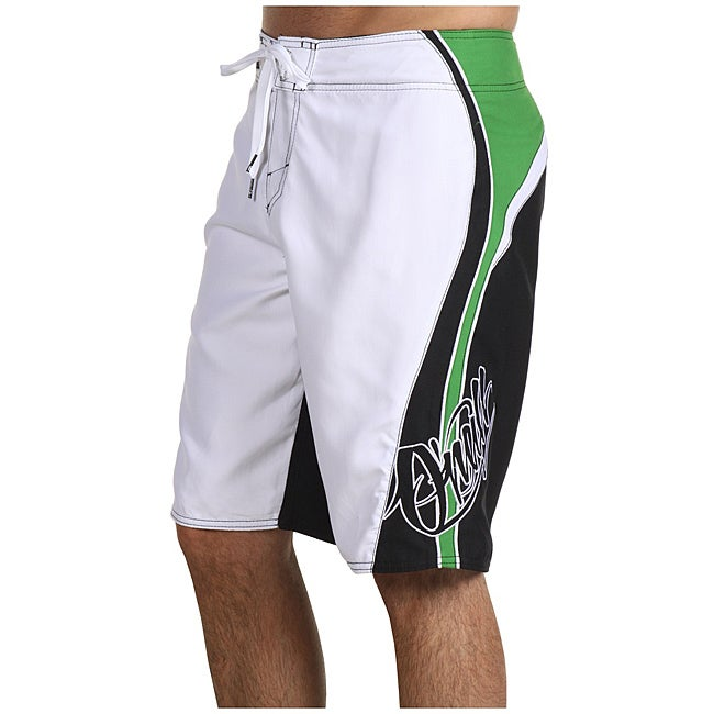 O'Neill Men's 'Grinder' White/ Green Boardshorts