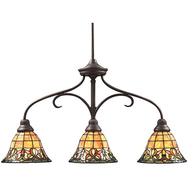 Aztec Lighting Tiffany-style 3-light Bronze Island Light