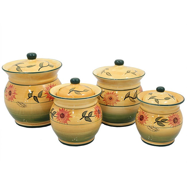 Sunflower Garden Collection Handcrafted 4-Piece Kitchen ...
