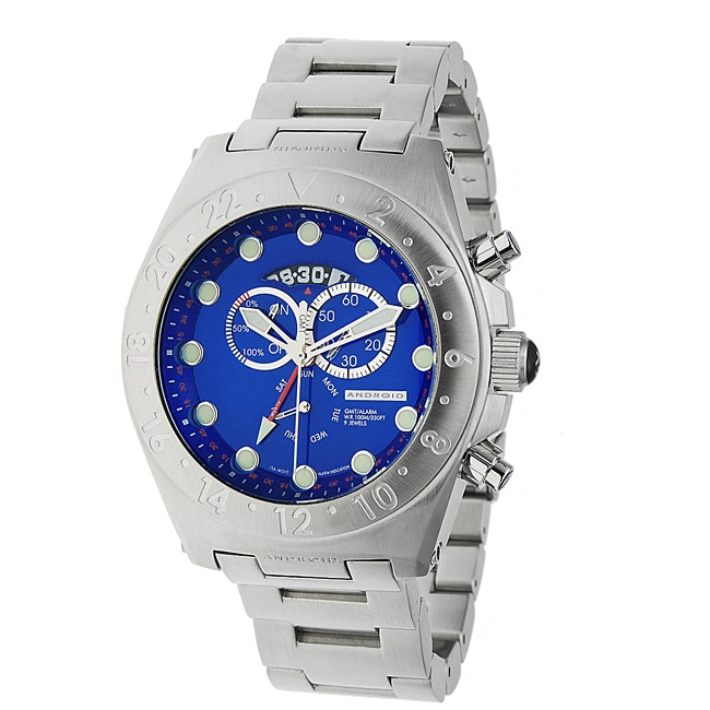 Android Men's 'Antiforce' Power Reserve Blue Dial Stainless Steel Bracelet Watch