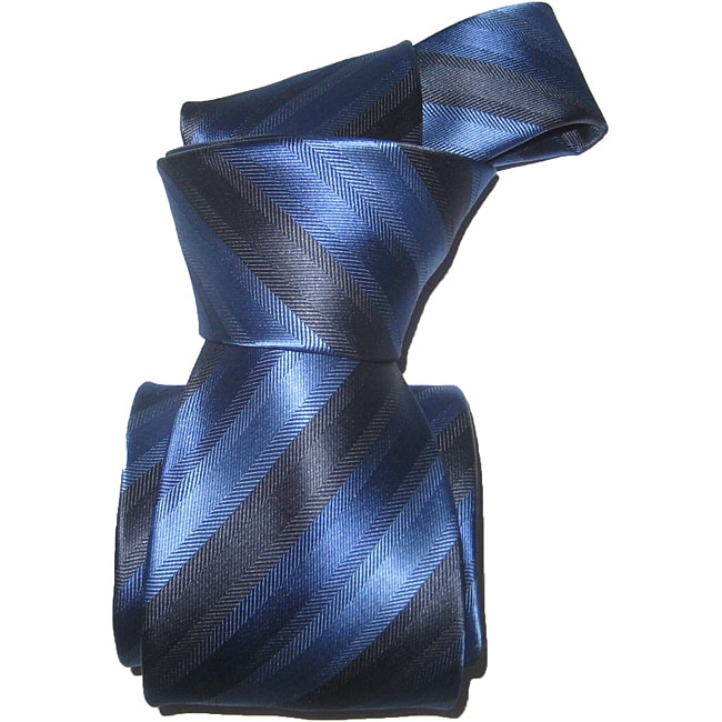 Dmitry Men's Italian Blue Striped Silk Tie