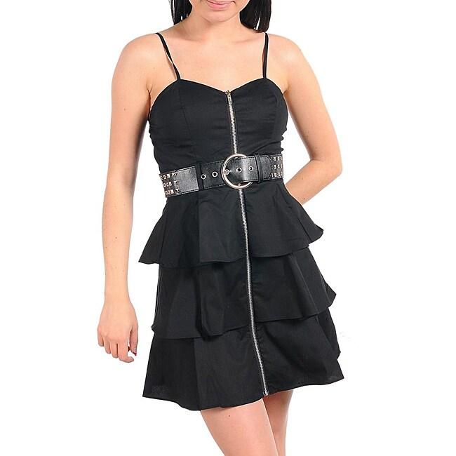 Stanzino Women's Black Ruffle Belted Dress