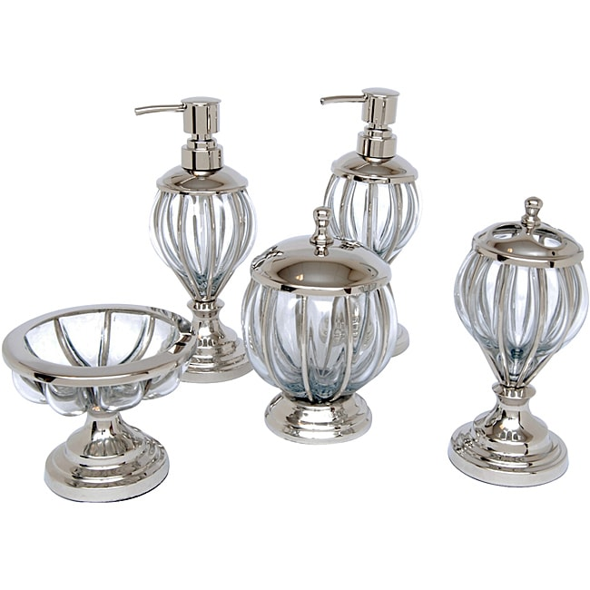 Blown Glass and Nickel Bath Accessory 5-piece Set