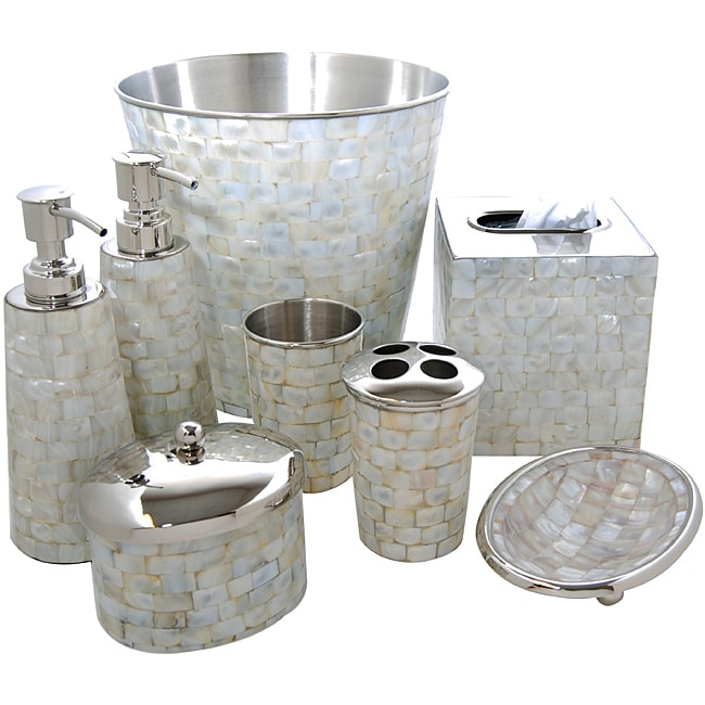 Royal Mother Of Pearl Bath Accessory 8 Piece Set