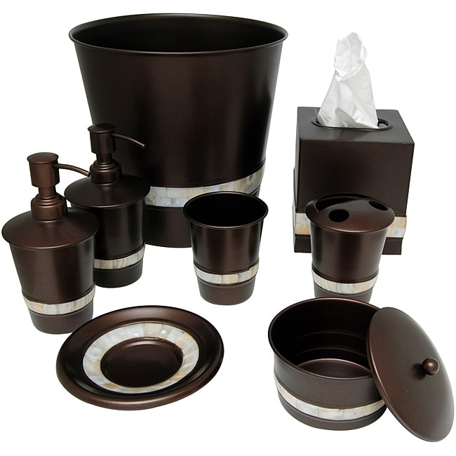 Mother of pearl bronze bath accessory 8 piece set for Bronze bathroom accessories set