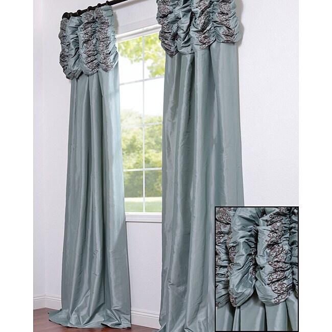Ruched Header Sea Green Faux Silk Taffeta 108-inch Curtain Panel