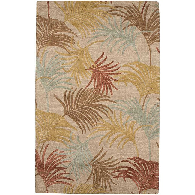 Hand-tufted Beige Wool and Art Silk Contemporary Area Rug (8' X 11')