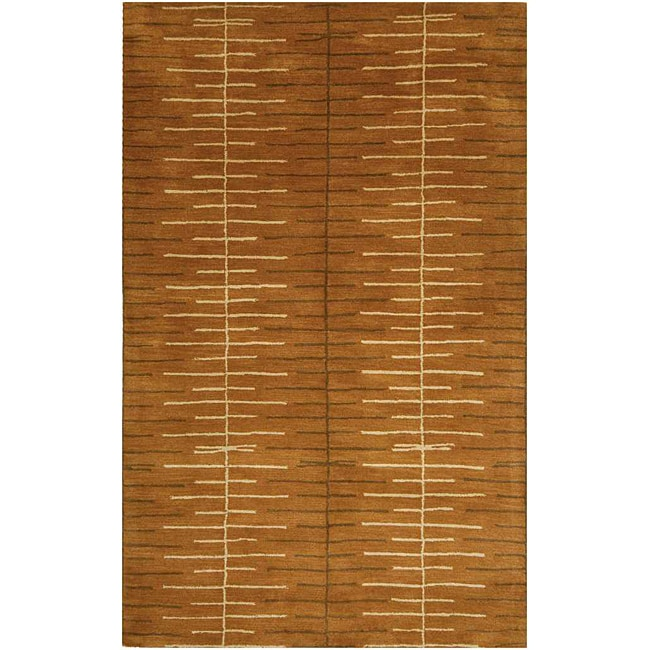 Hand-tufted Brown Abstract Wool Area Rug (2' x 3')