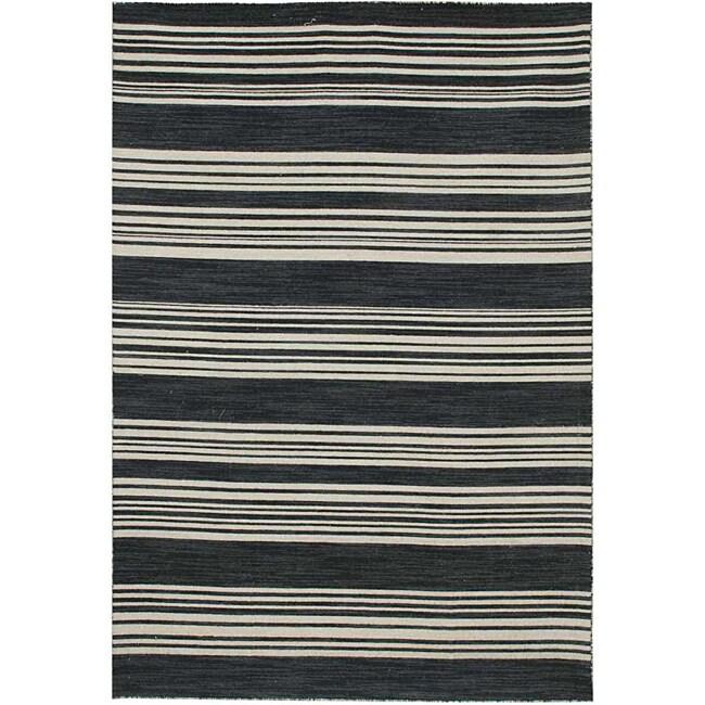 Flat Weave Black/ Grey Wool Rug (10' x 14')