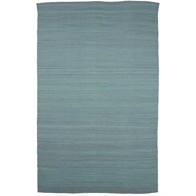 Flat Weave Solid Blue Wool Rug (8' x 10')