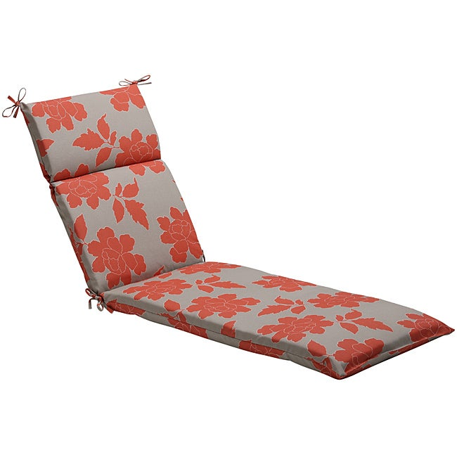 Pillow Perfect Grey/ Coral Floral Outdoor Chaise Lounge Cushion at Sears.com