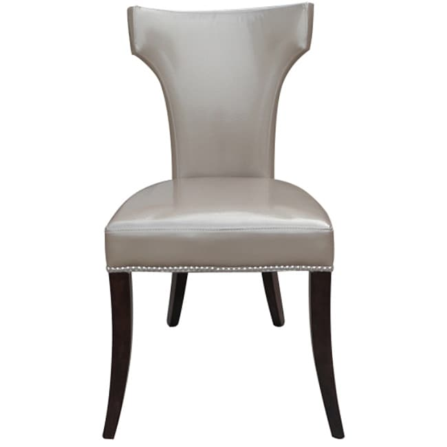 Continental Pewter Leather Dining Chairs with Nail-Head Trimming (Set of 2)