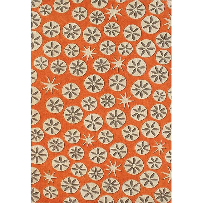 Alliyah Handmade Coral Rose New Zealand Blend Wool Rug (5' x 8')