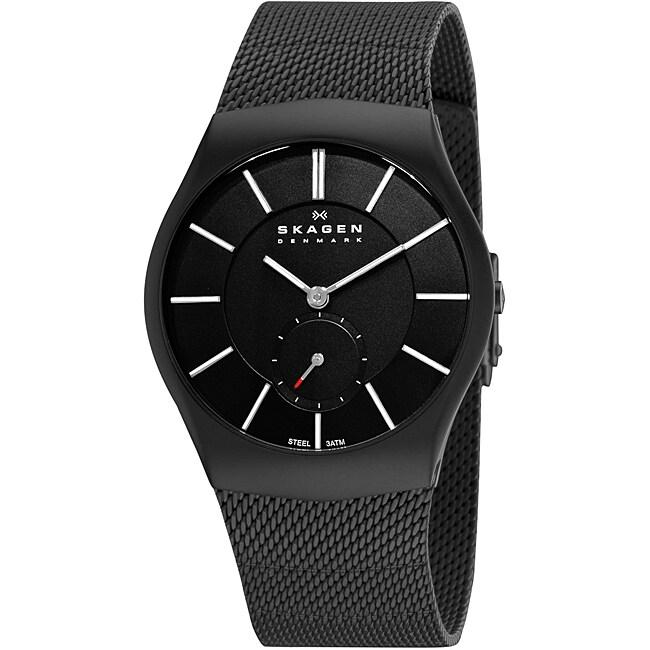 Skagen Men's Black Steel Sandblasted Watch