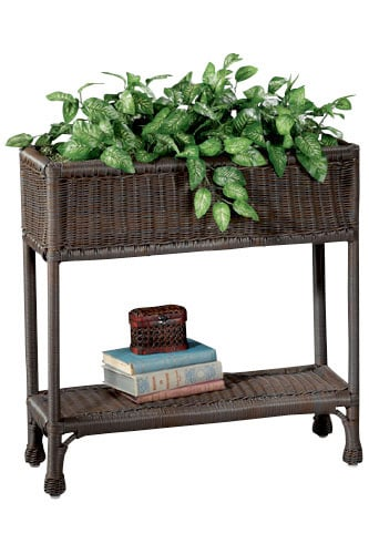 Tall Wicker-like Dark Brown Planter