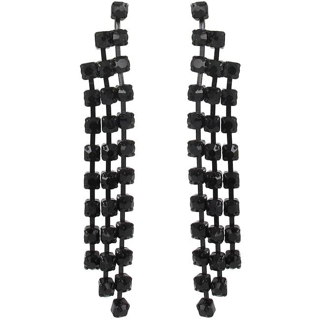 Roman Black-plated Black Crystal Waterfall Dangle Earrings
