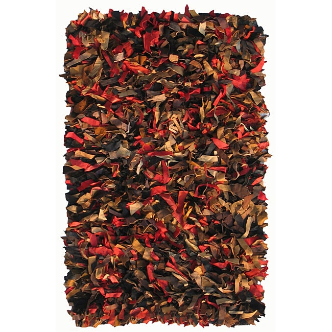Hand-woven Multicolor Premium Leather Shag Rug (8' x 10')