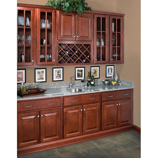 Rich cherry wall 36 inch cabinet 14104688 overstock for Kitchen cabinets 36 inch