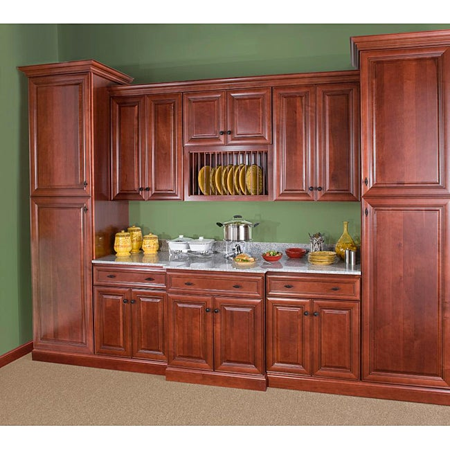 Cherry stain chocolate glaze 36 inch wide wall cabinet for Kitchen cabinets 36 inch