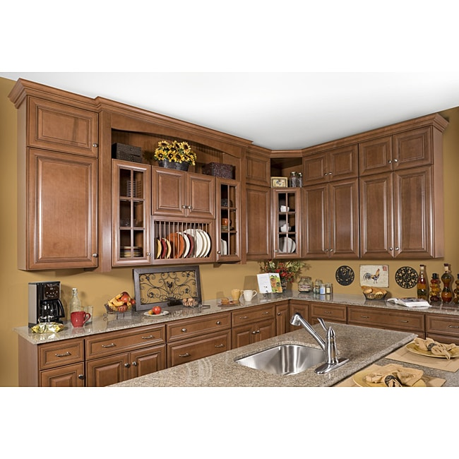 Honey stain chocolate glaze 30 inch base kitchen cabinet for Kitchen cabinets 75 off