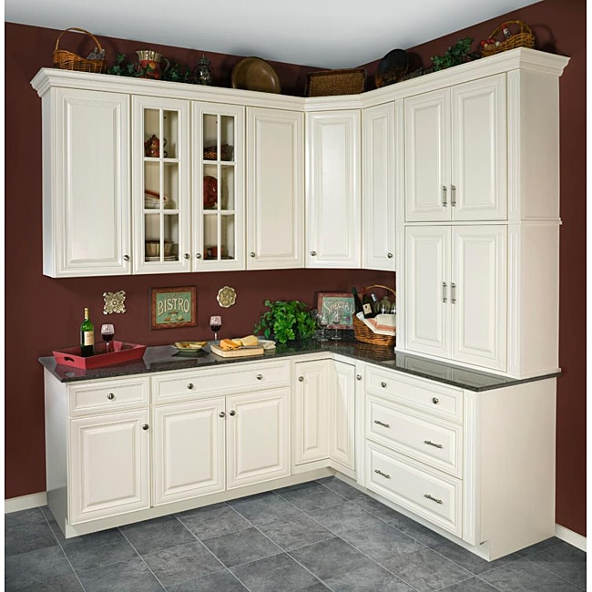antique white 30 x 36 in wall kitchen cabinet 14104901