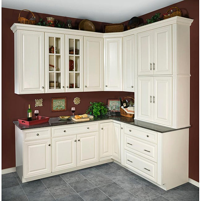 Overstock.com Antique White 30 x 15 in. Wall Kitchen Cabinet at Sears.com