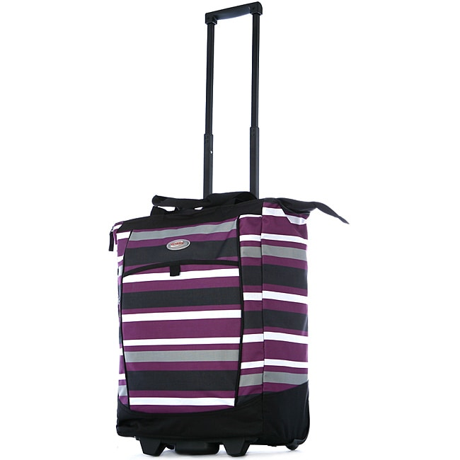 Olympia 20-inch Purple Stripe Polyester/Metal Rolling Shopper Tote