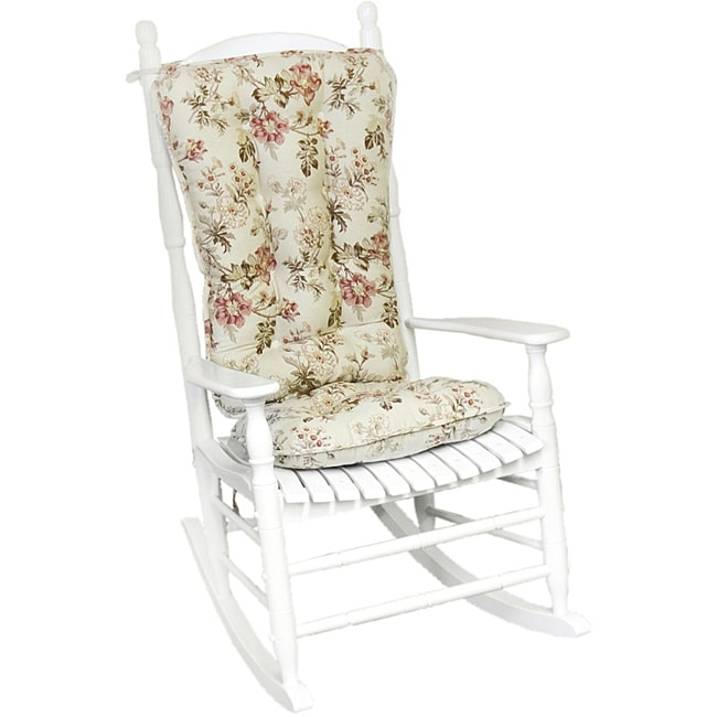Cotton Rose Floral Jumbo 2 piece Rocking Chair Cushion Set Overstock