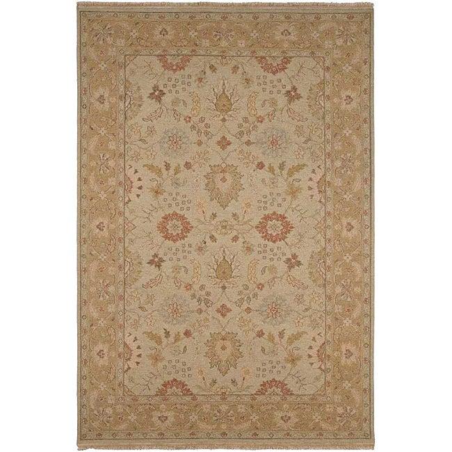 Hand-knotted Ivory/ Brown Wool Rug (9' x 12')