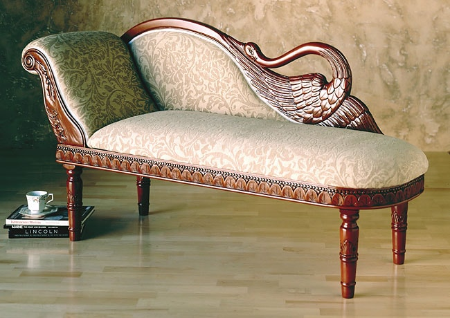 Carved Swan Chaise Lounge