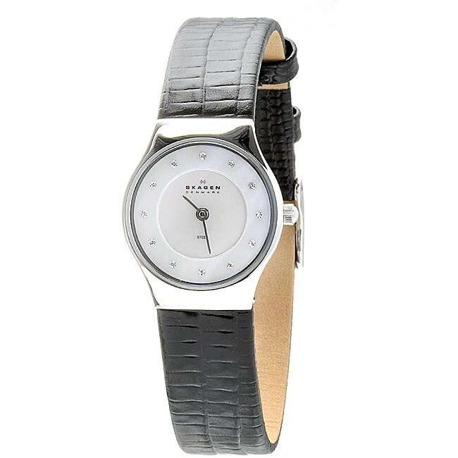 Skagen Women's Black Leather Watch