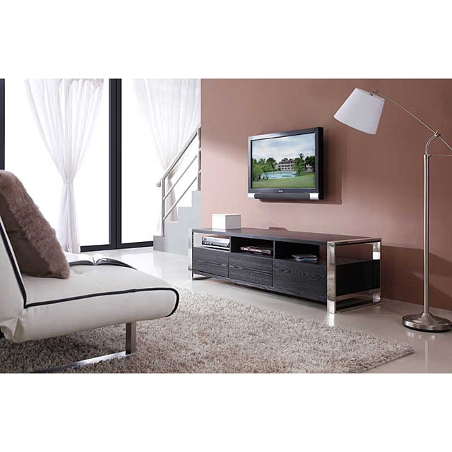 'Adrianna' Black Oak Stainless Steel TV Stand at Sears.com