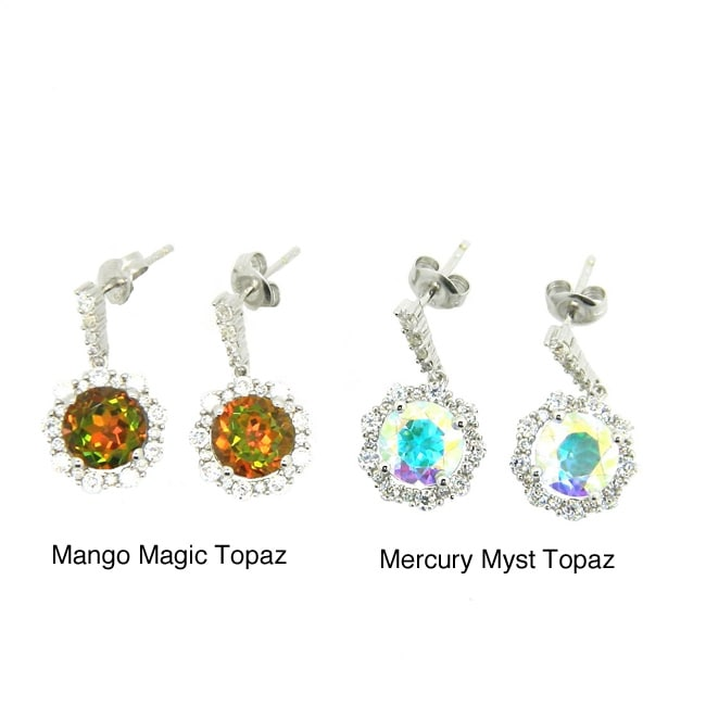 D'sire Sterling Silver Topaz and Cubic Zirconia Dangle Earrings