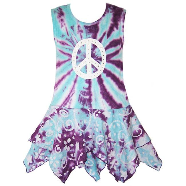 AnnLorel Girls' Tie-dye Peace Sign Tank Dress