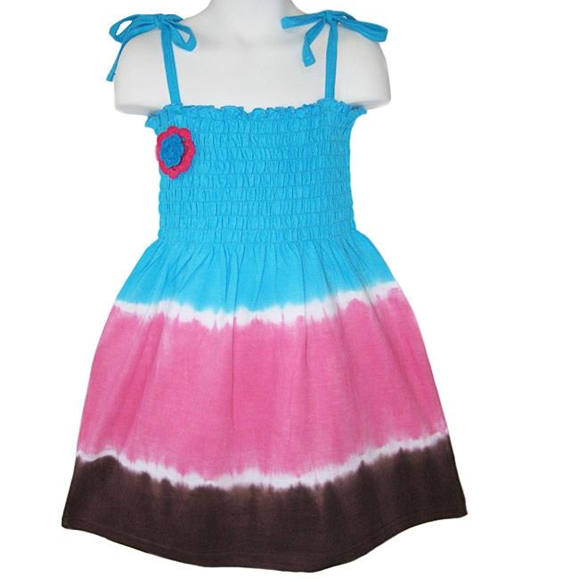 AnnLoren Girls' Smocked Tie-dye Sundress