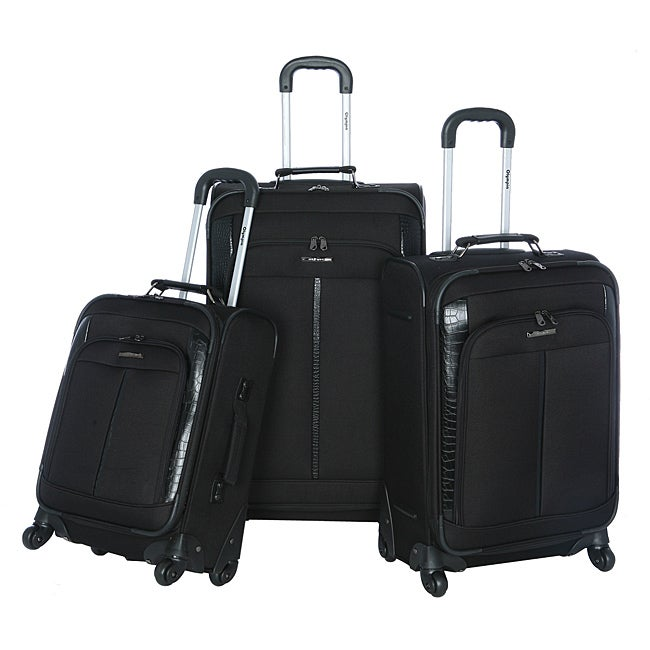 Olympia Corea 3 piece Black Expandable Spinner Luggage Set
