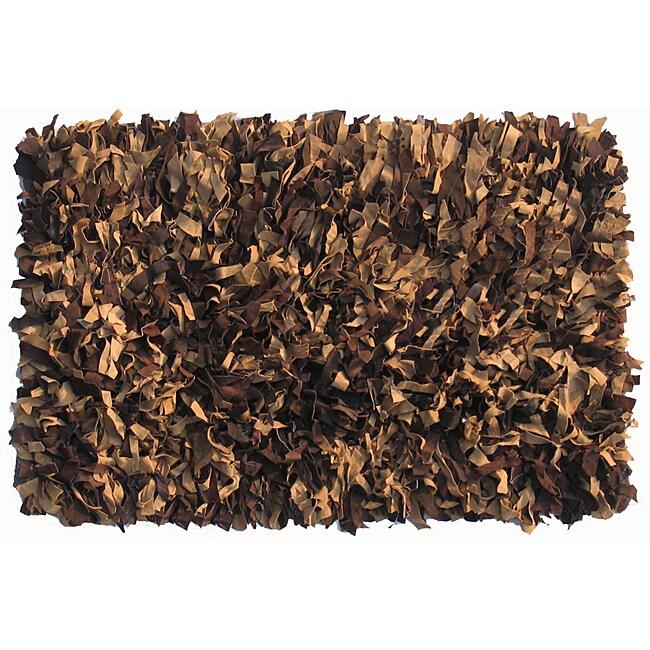 Brown/Tan Premium Leather Shag Area Rug (5' x 8')