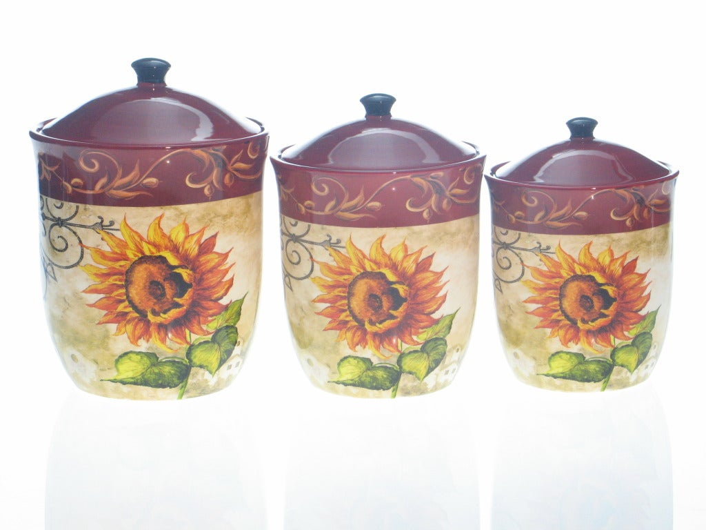 Certified International Tuscan Sunflower 3-piece Canister Set