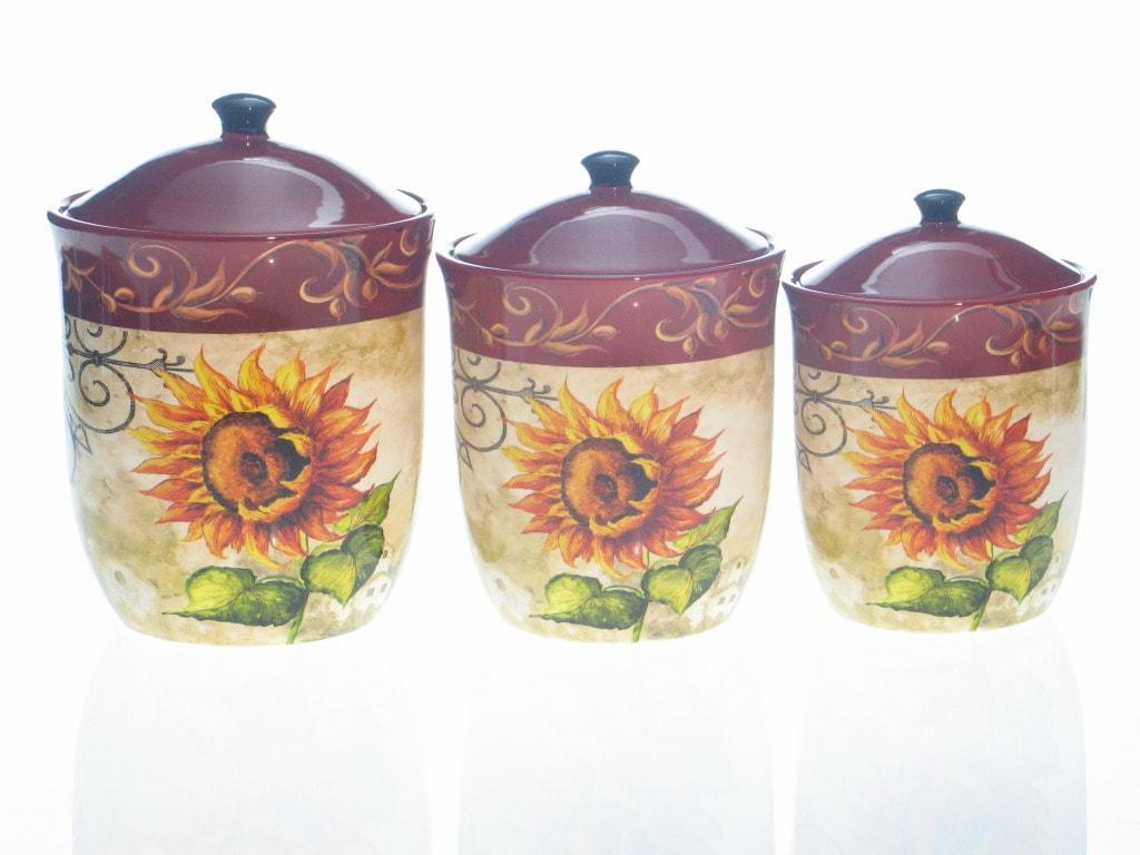 certified international tuscan sunflower 3 piece canister sunflower kitchen kitchen canister sets and kitchen
