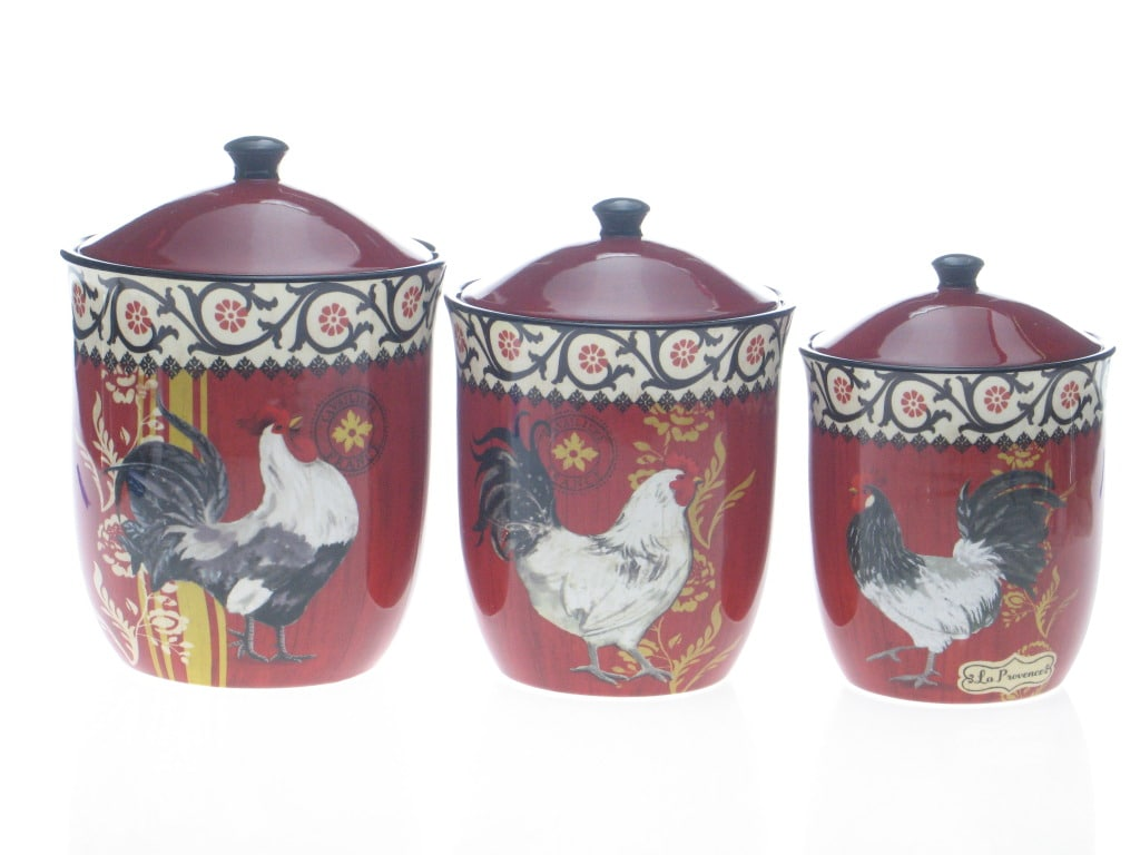 Certified International La Provence Rooster 3-piece Canister Set