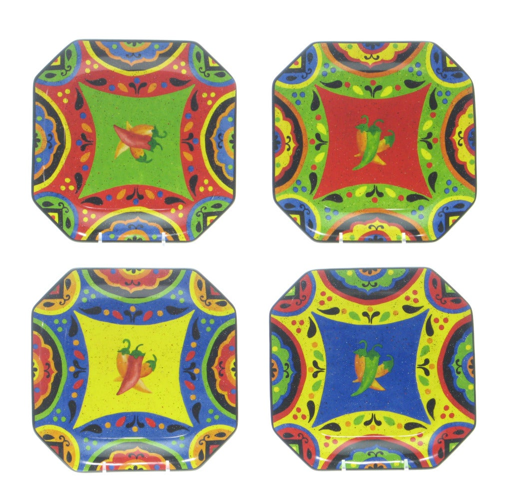 Certified International Hot and Saucy Dessert Plates (Set of 4)