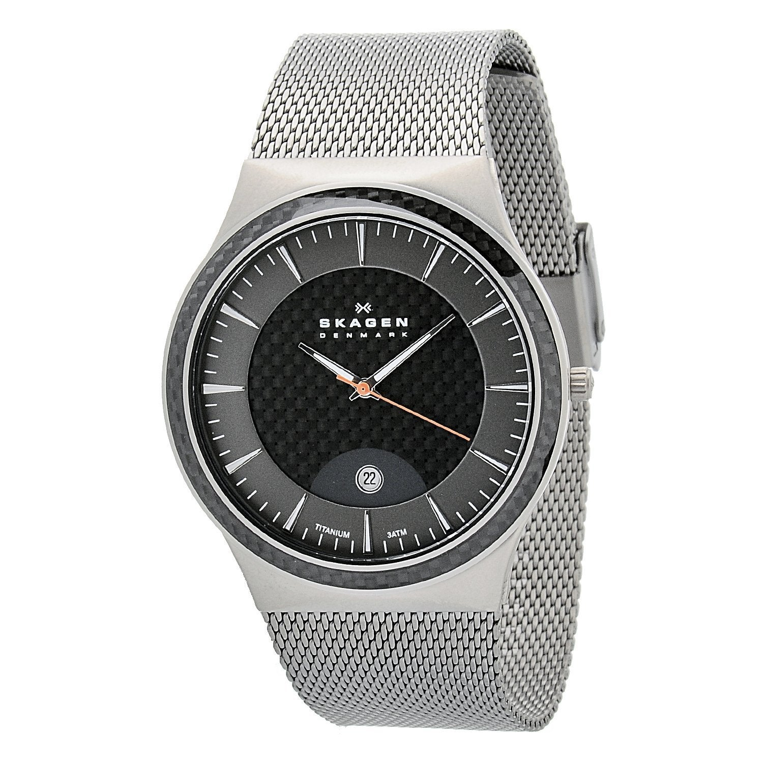 Eziba Collection Skagen Men's Carbon Fiber Dial Stainless Steel Watch at Sears.com